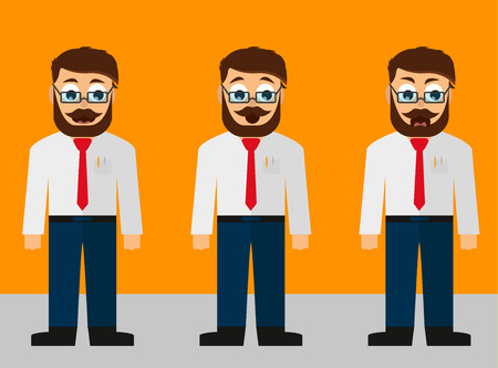 Young manager with different emotions flat design Illustration