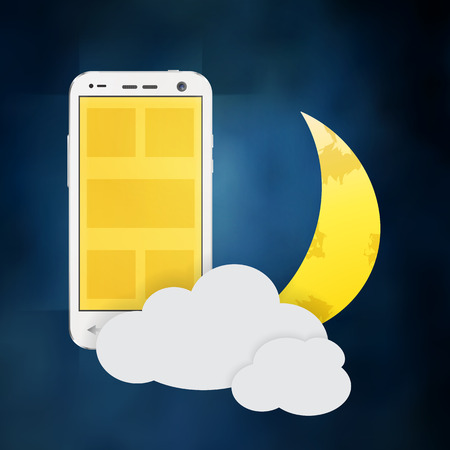 using smartphone: using cellphone and smartphone at night illustration