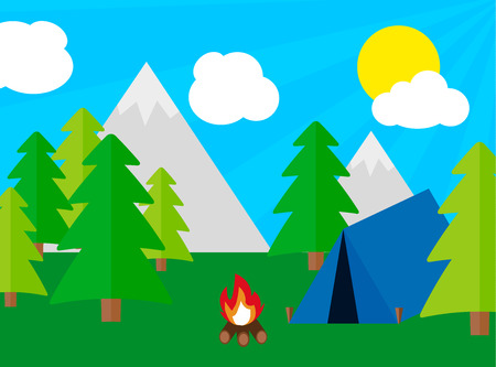 Camping tourism concept with stan and campfire, flat desing