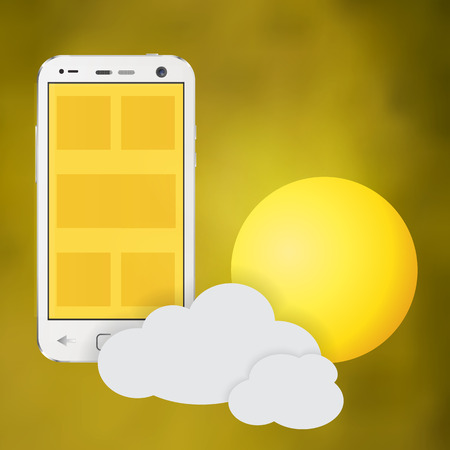Cellphone sunny day weather with sun and cloud Illustration