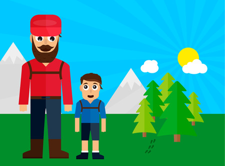 family trip: Dad and son on family trip in the forest flat illustration Illustration