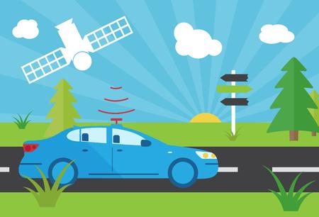satelite: selfdriving car with navigation sensor and satelite in desert flat illustration