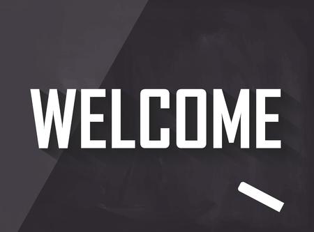 Welkom geschreven op blackboard met krijt en lange schaduw Stockfoto - 67183376