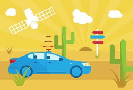 satelite: selfdriving car with navigation sensor and satelite in desert flat vector illustration