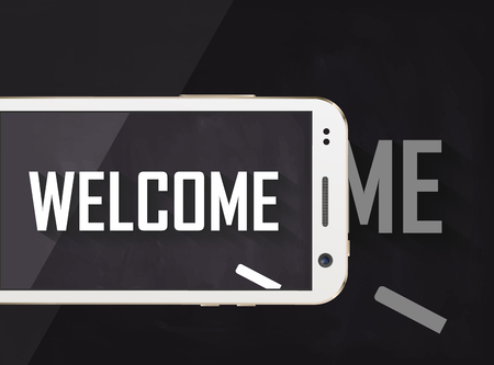 Welkom geschreven op blackboard met mobiele telefoon aan de voorkant Stockfoto - 67183379