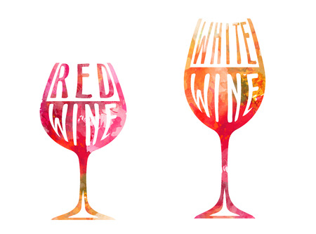 Wijnglazen met kleurrijke postzegels en splitters ontwerp Stock Illustratie