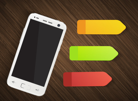 wooden post: Cellphone with colorful stickers on wooden background illustration Illustration
