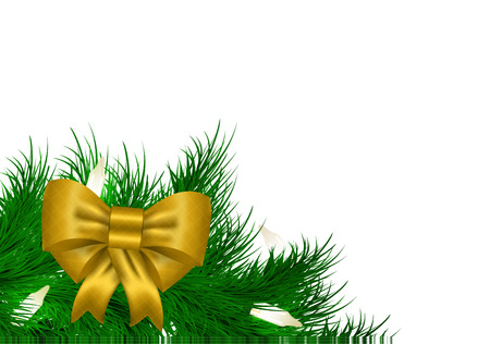 atmosphere: Christmas garland background from needles with white space for text Illustration