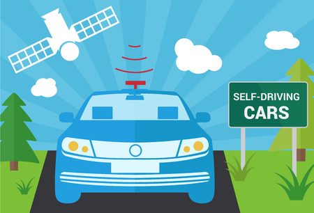 sensor: Selfdriving car with navigation sensor and satellite illustration