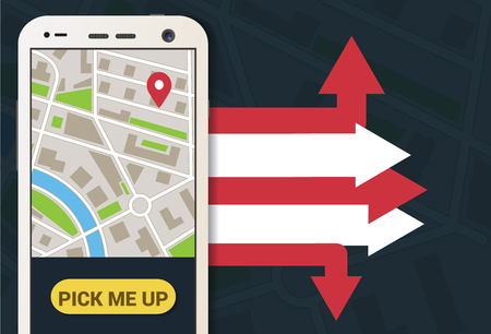 Taxi mobiel applicatie met kaart en pijlen in de achtergrond vector Stock Illustratie