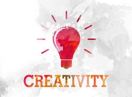 Creatieve aquarel achtergrond met lamp symbool vectorillustratie