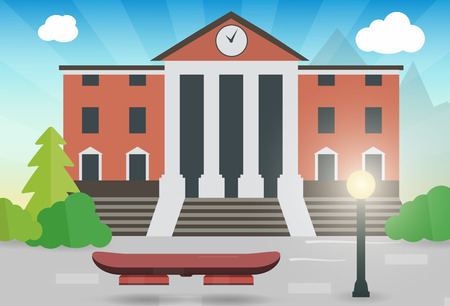 future hoverboard on the street with the town hall vector illustration