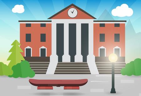 Toekomstige hoverboard op de straat met het stadshuis vectorillustratie