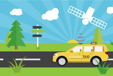 Self-driving taxi country road vector illustration