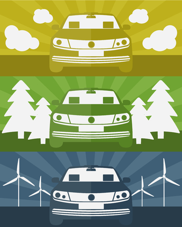 Set of banners with an electric car using clean energy vector illustration