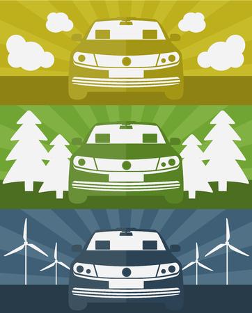 Set van banners met een elektrische auto met behulp van schone energie vectorillustratie Stockfoto - 66583126