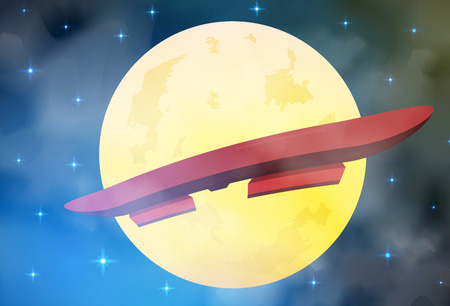 hoverboard flying in front of the moon and stars vector illustration