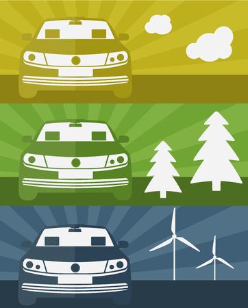 Set van banners met een elektrische auto met behulp van schone energie vectorillustratie
