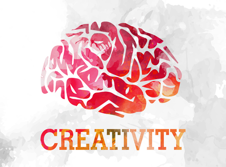 Creative watercolor background with brain symbol vector illustration