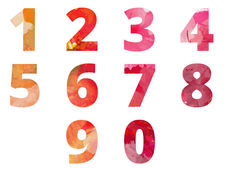 Numbers watercolor symbols vector illustration
