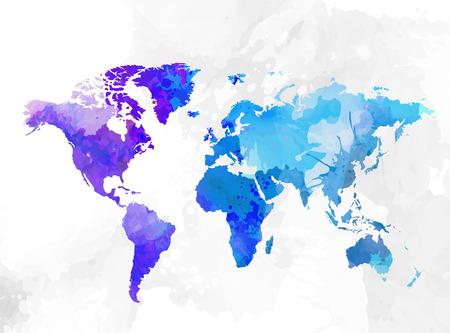 Wereldkaart aquarel achtergrond vectorillustratie Stock Illustratie