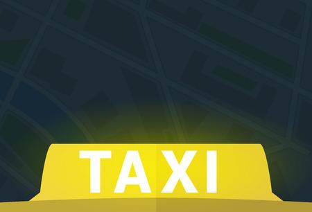 Geel taxisymbool met lichteffect vectorillustratie als achtergrond