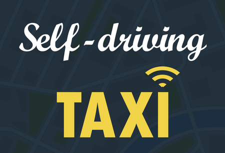 Self-driving taxi teken vector illustratie Stockfoto - 66581831