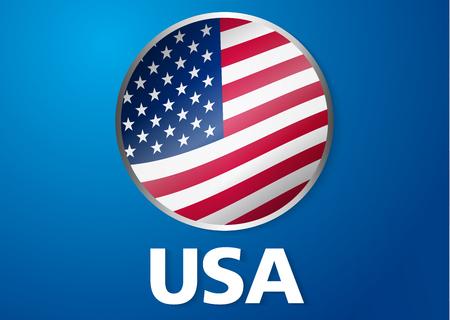 Usa Flag Symbol In Circle Vector Badge Royalty Free Cliparts