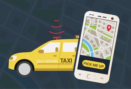 Zelfrijdende taxi mobiele applicatie zijaanzicht vectorillustratie Stock Illustratie