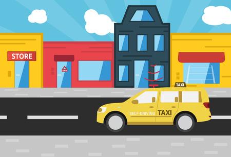 Self-driving taxi city street vector illustration