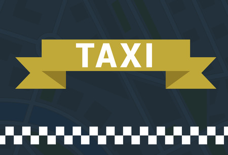 Taxi symbol with ribbon and white square stripes