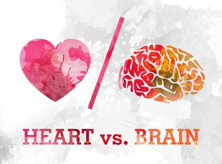 hart en hersenen, liefde en logica conflict aquarel vectorillustratie