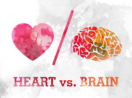 heart and brain, love and logic conflict watercolor vector illustration Çizim