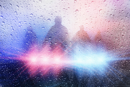 Politie crime scene, regen achtergrond met de politie lights