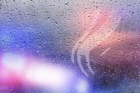 police lights: Police crime scene, rain background with police lights