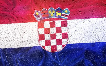 watter: Croatian flag with watter drops, rainy weather, croatia