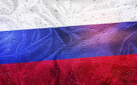 Russian flag with watter drops, rainy weather, Russia