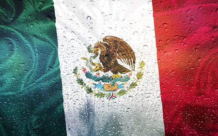 watter: Mexican flag with watter drops, rainy weather, Mexico Stock Photo