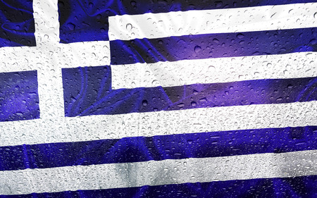 watter: Greece flag with watter drops, rainy weather