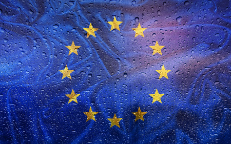 watter: Eupean flag with watter drops, rainy weather, Europe union Stock Photo