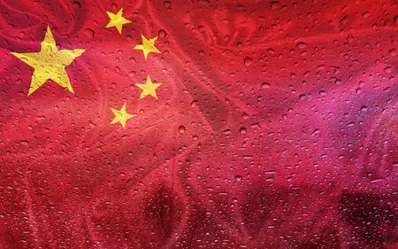 watter: Chinese flag with watter drops, rainy weather, China Stock Photo