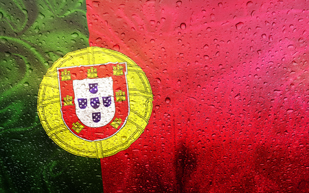 Portuguese, flag with watter drops, rainy weather, Portugal