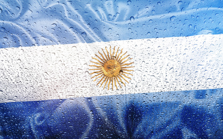 watter: Argentine flag with watter drops, rainy weather