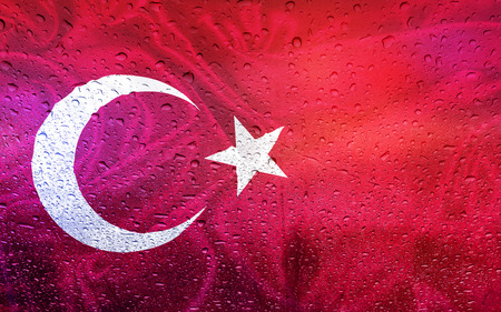 watter: Turkish flag with watter drops, rainy weather, Turkey Stock Photo