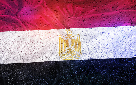 watter: Egyptian flag with watter drops, rainy weather, Egypt Stock Photo