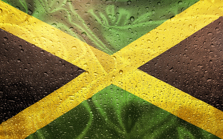 Jamaican flag with watter drops, rainy weather, Jamaica