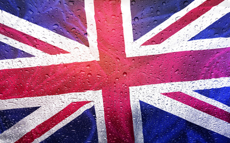 watter: United Kingdom flag with watter drops, rainy weather, Great Britain