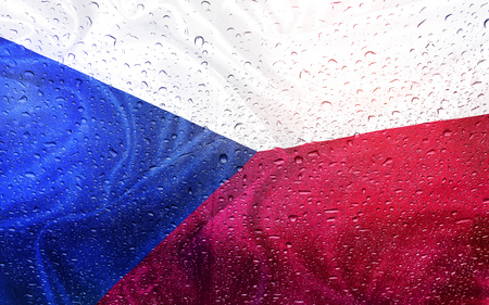 swiming: Czech flag with watter drops, rainy weather, Czech republic