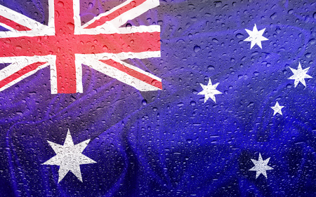 watter: Australian flag with watter drops, rainy weather, australia