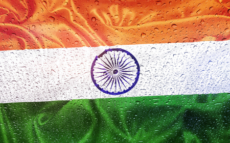 watter: Indian flag with watter drops, rainy weather, India